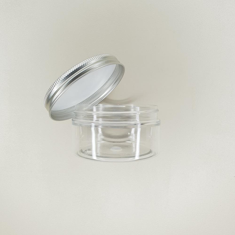 pot plastique transparent 100 ml couvercle aluminium