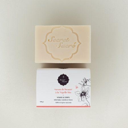 savon à frois de beauté à la nigelle bio Secret Sacré de 100 grisage et corps 100 grammes