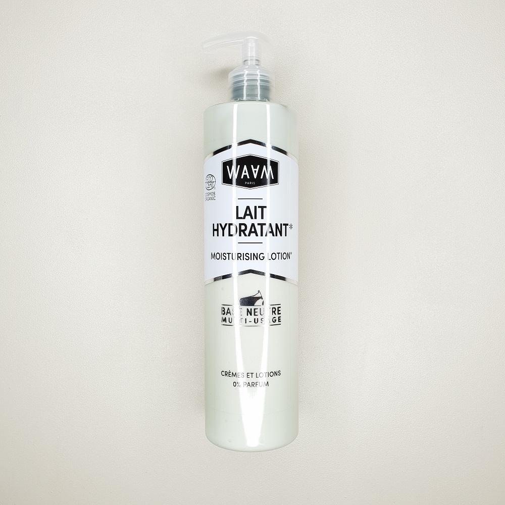 base lait hydratant waam pour le corps personnalisable contenance 400 ml