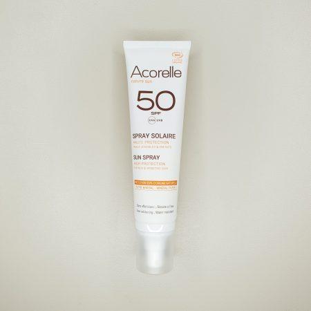 crème solaire bio haute protection en spray acorelle indice 50 UVA UVB