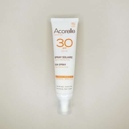 crème solaire bio en spray acorelle indice 30 UVA UVB