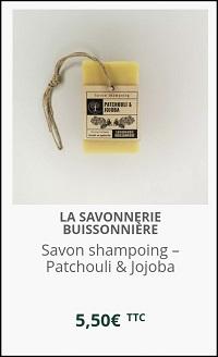 savon-shampoing au Patchouli et huile de Jojoba Savonnerie Buissonnière
