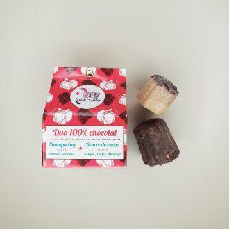 Coffret Duo 100 % Chocolat - Beurre de cacao et shampoing solides