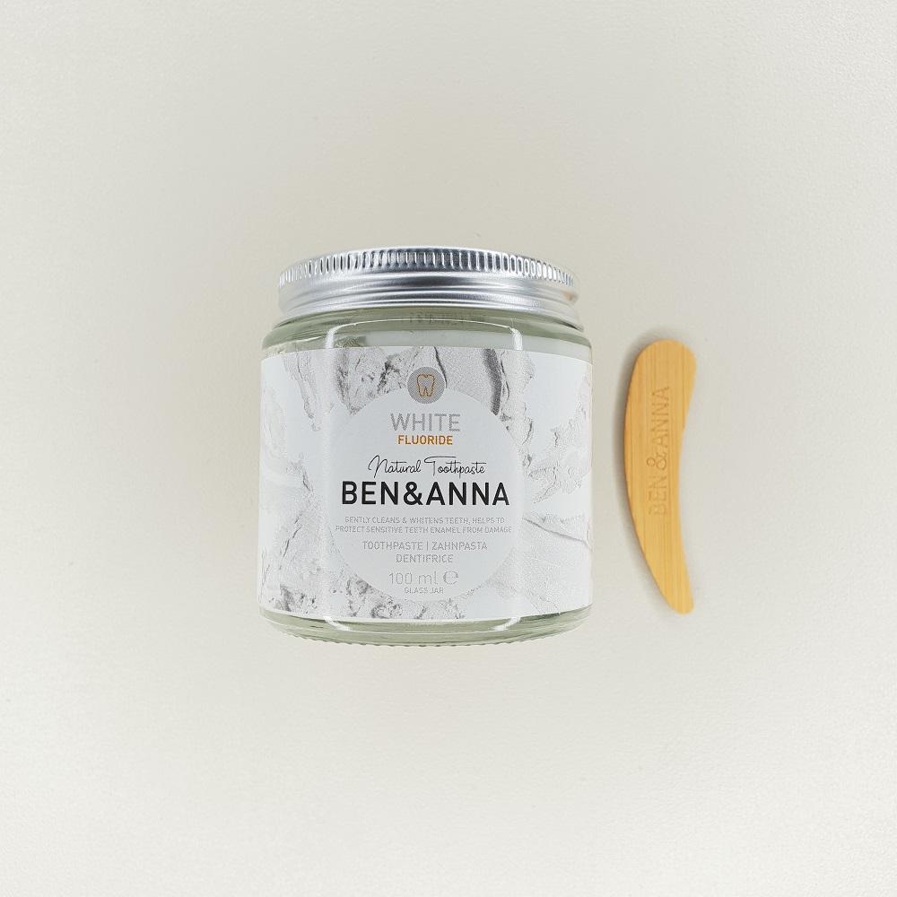 Dentifrice blancheur au fluor white Ben & Anna contenance 100 ml